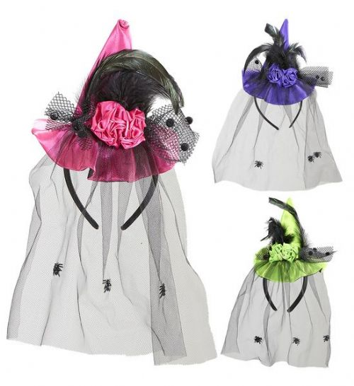 Mini Witch Hat With Roses 3 Asstd Colours Halloween Wicked Villian Fancy Dress